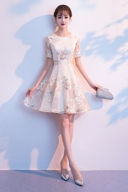 Champagne Round Neck Illusion Sleeves Floral Embroidery Mini Gown