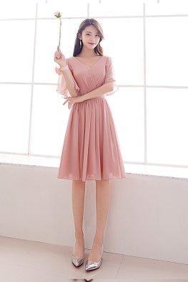 Pink V-Neck Wide Sleeves Lace-up Dress