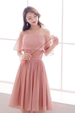 Pink Off-Shoulder Overlay Lace-up Dress