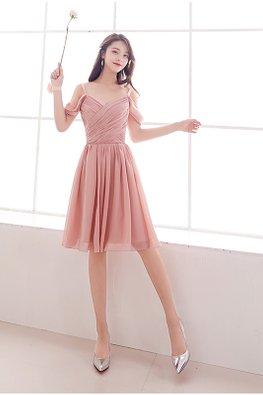 Pink Strap Cold-Shoulder Sweetheart V-Wrap Lace-up Dress