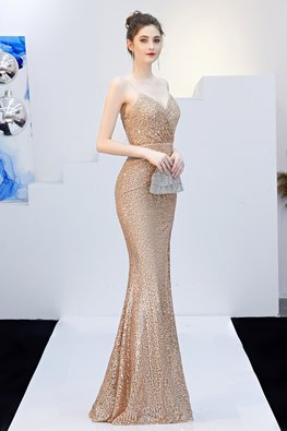 Green / Champagne V-Sweetheart High-Slit Sequins Gown