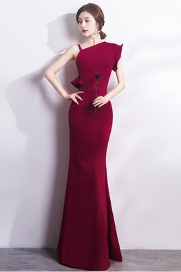 Assorted Colours One-Shoulder Ruffle Sleeves Mermaid Gown