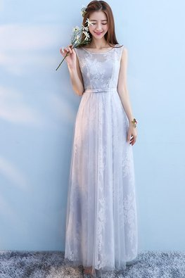 Grey Jewel Neckline Floral Fabric A-Line Gown