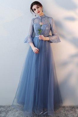 Blue Mandarin Collar Trumpet Sleeves A-Line Gown