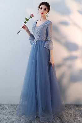 Blue V-Neck Trumpet Sleeves A-Line Gown