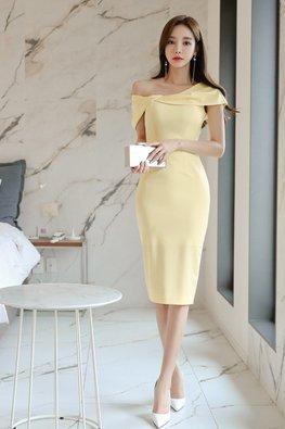 Yellow Asymmetrical Off-Shoulder Sheath Dress
