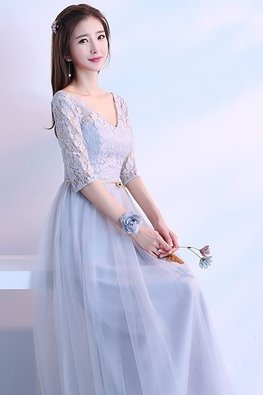 Grey V-Neck Elbow Sleeves Golden Waist Rope Lace Gown