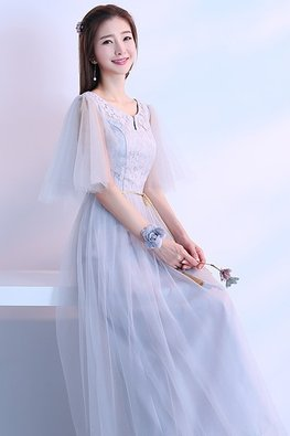 Grey Jewel Neckline Butterfly Sleeves Golden Waist Rope Lace Gown