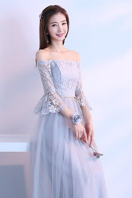 Grey Off-Shoulder Trumpet Sleeves Golden Waist Rope Lace Gown