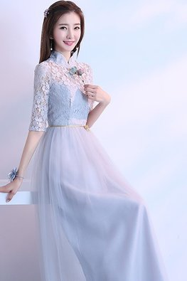 Grey Mandarin Collar Elbow Sleeves Golden Waist Rope Lace Gown