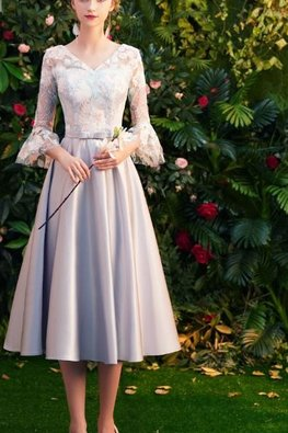 Pink / Silver V-Neck Trumpet Sleeves Floral Lace Gown