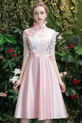 Pink Mandarin Collar Elbow Sleeves Floral Lace Gown (Express)