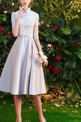 Pink / Silver Mandarin Collar Elbow Sleeves Floral Lace Gown