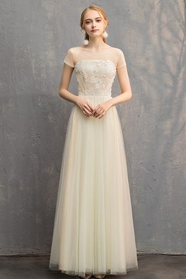 Champagne Illusion Neckline Tube Lace-up Gown