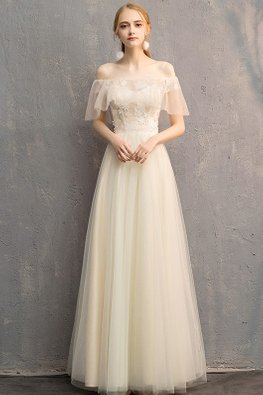 Champagne Off-Shoulder Illusion Overlay Lace-up Gown