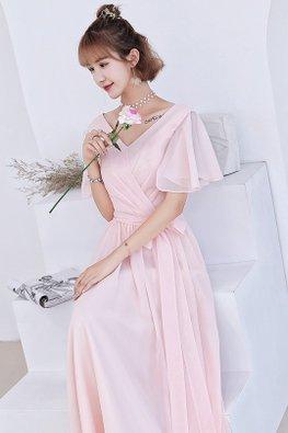 Pink V-Neckline Wide Sleeves Lace-up Dress