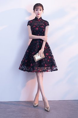 Black Mandarin Collar Sweetheart Illusion Butterflies Dress (Express)