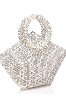 Off-White / Mixed Diamond Shaped Pearl Bag