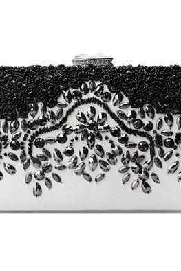 Black White Rectangular Jewel Clutch