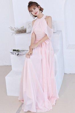 Pink Halter Neckline Cold Shoulder Lace-up Dress