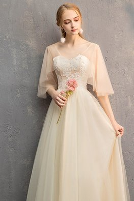 Champagne Illusion Neckline Sweetheart Wide Sleeves Lace-up Gown