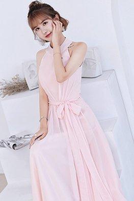 Pink Halter Neckline Peekaboo Back Lace-up Dress (Express)