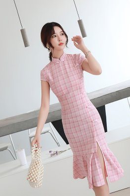 Pink Mandarin Collar Cap Sleeves Checkered Mermaid Cheongsam (Express)
