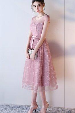 Dusty Pink / Grey Jewel Illusion Neckline A-Line Gown