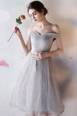 Dusty Pink / Grey Sweetheart Off-Shoulder A-Line Gown
