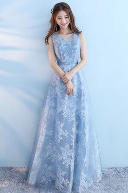 Blue Jewel Neckline Floral Fabric A-Line Gown