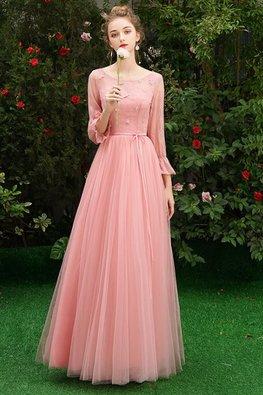 Assorted Colours Illusion Neckline Trumpet Sleeves Applique Lace Gown