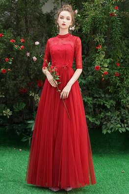 Assorted Colours High Neck Elbow Sleeves Applique Lace Gown