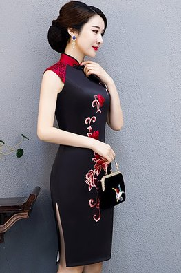 Black Mandarin Collar Double Embroidery Silk Cheongsam (Express)