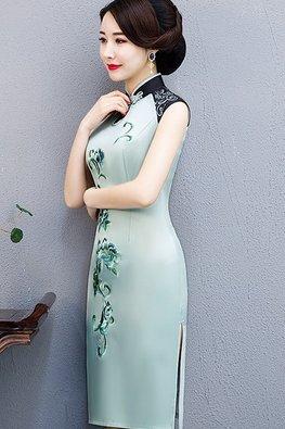 Assorted Colours Mandarin Collar Double Embroidery Silk Cheongsam