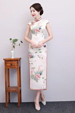 Pink Green Trimmings Mandarin Collar Mulberry Silk Cheongsam