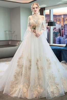 Off-Shoulder Illusion Sleeves Gold Embroidery Wedding Gown with Chapel Train