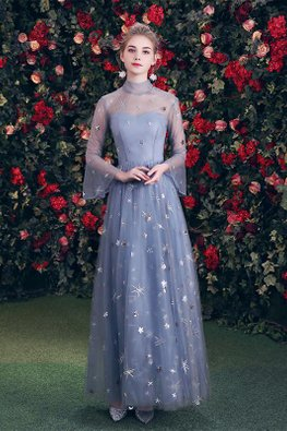 Blue High Illusion Neckline Trumpet Sleeves Twinkle Gown