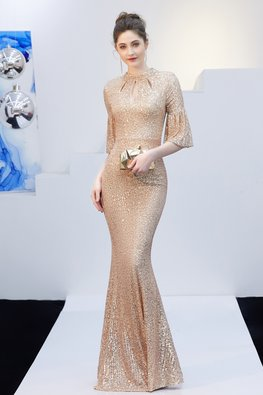 Assorted Colours Dew Drop Trumpet Sleeves Sequins Gown