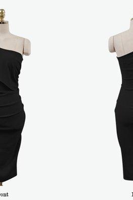 White / Black One-Shoulder Cape Toga Sheath Dress