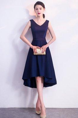 Assorted Colours V-Neck Flexi Ribbon Hi-Lo Dress