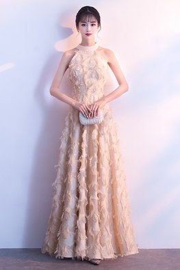 Assorted Colours Halter Neckline Feather A-Line Short / Long Gown