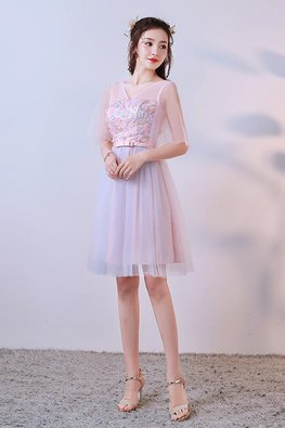 Pastel Florals Illusion V-Neck Elbow Sheer Sleeves Lace-up Gown