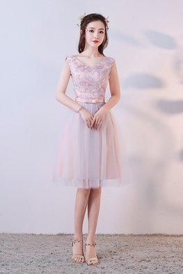 Pastel Florals V-Neck Lace-up Gown