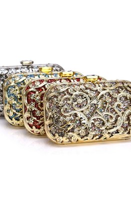 Assorted Colours Birds Metal Edged Clutch