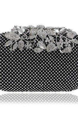 Assorted Colours Diamond Encrusted Leaves Clutch