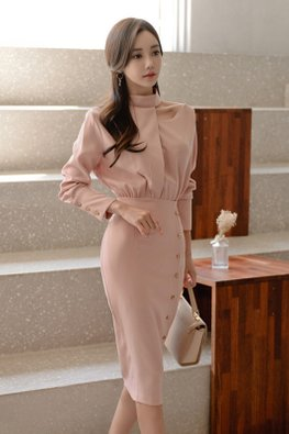 Pink High Neck Long Sleeves Button-Down Dress