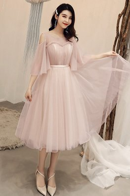 Dusty Pink Illusion Neckline Open Sleeves Short / Tea-Length Gown