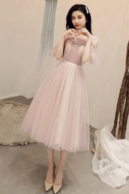 Dusty Pink Illusion Neckline Ruffled Open Sleeves Short / Tea-Length Gown