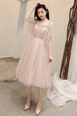 Dusty Pink Open Sleeves Short / Tea-Length Gown