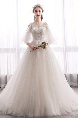 Light Champagne V-Neck Open Sleeves Eden Wedding Gown